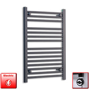 600mm Wide 800mm High Flat Black Pre-Filled Electric Heated Towel Rail Radiator HTR,MOA Thermostatic Element