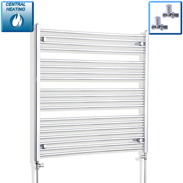 1000mm Wide 1000mm High Flat Chrome Heated Towel Rail Radiator HTR,With Straight Valve