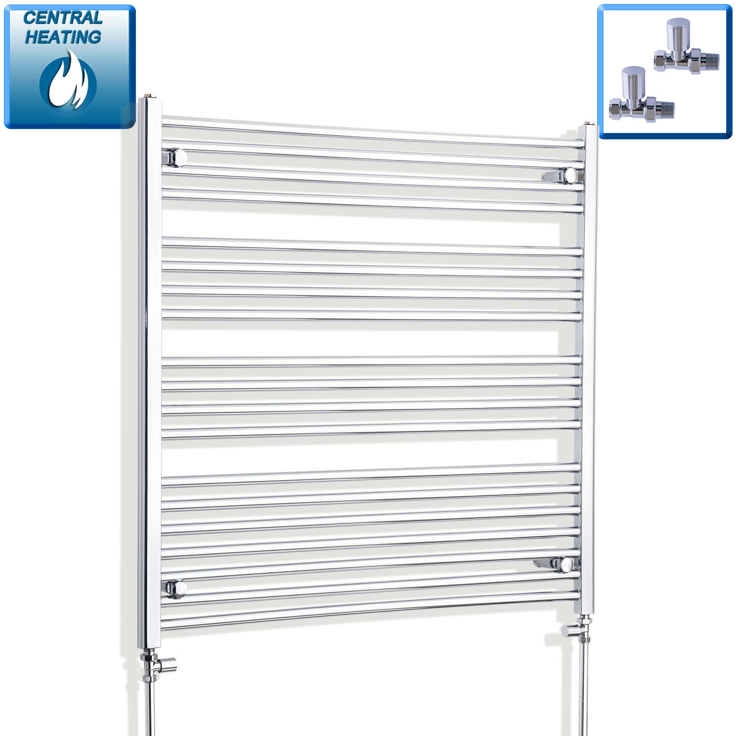 1100mm Wide 1000mm High Flat Chrome Heated Towel Rail Radiator HTR,With Straight Valve