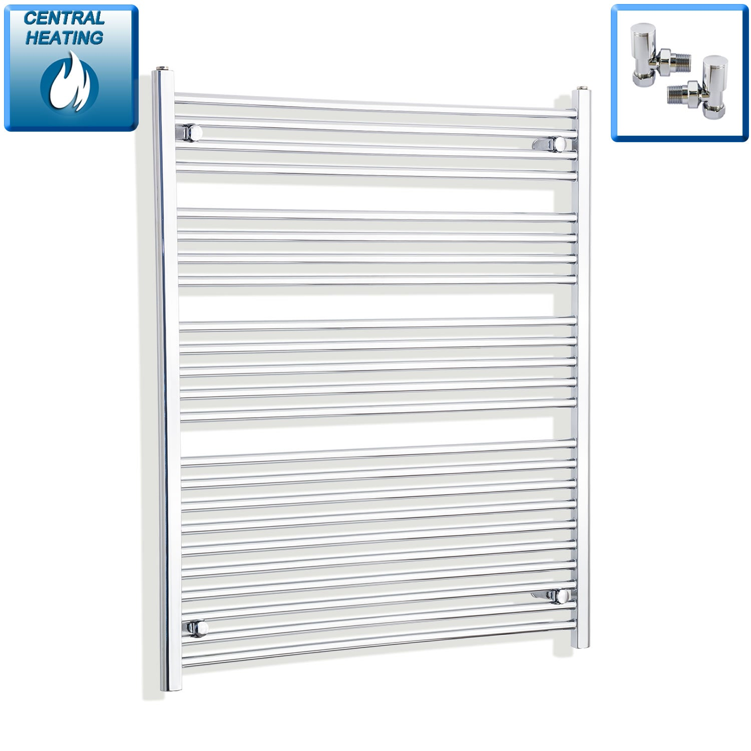 1000mm Wide 1200mm High Flat Chrome Heated Towel Rail Radiator HTR,With Angled Valve