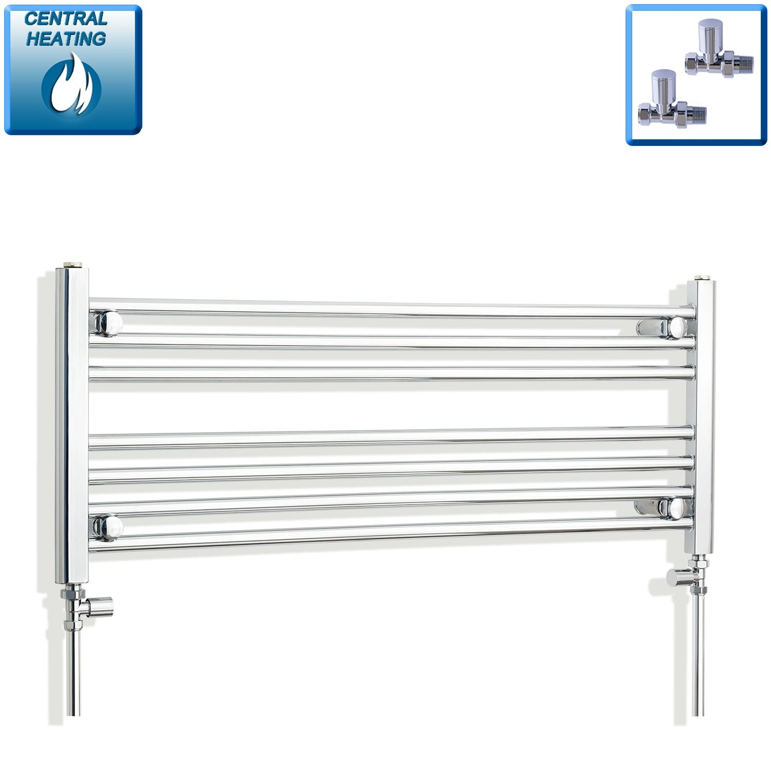 1000mm Wide 400mm High Flat Chrome Heated Towel Rail Radiator HTR,With Straight Valve