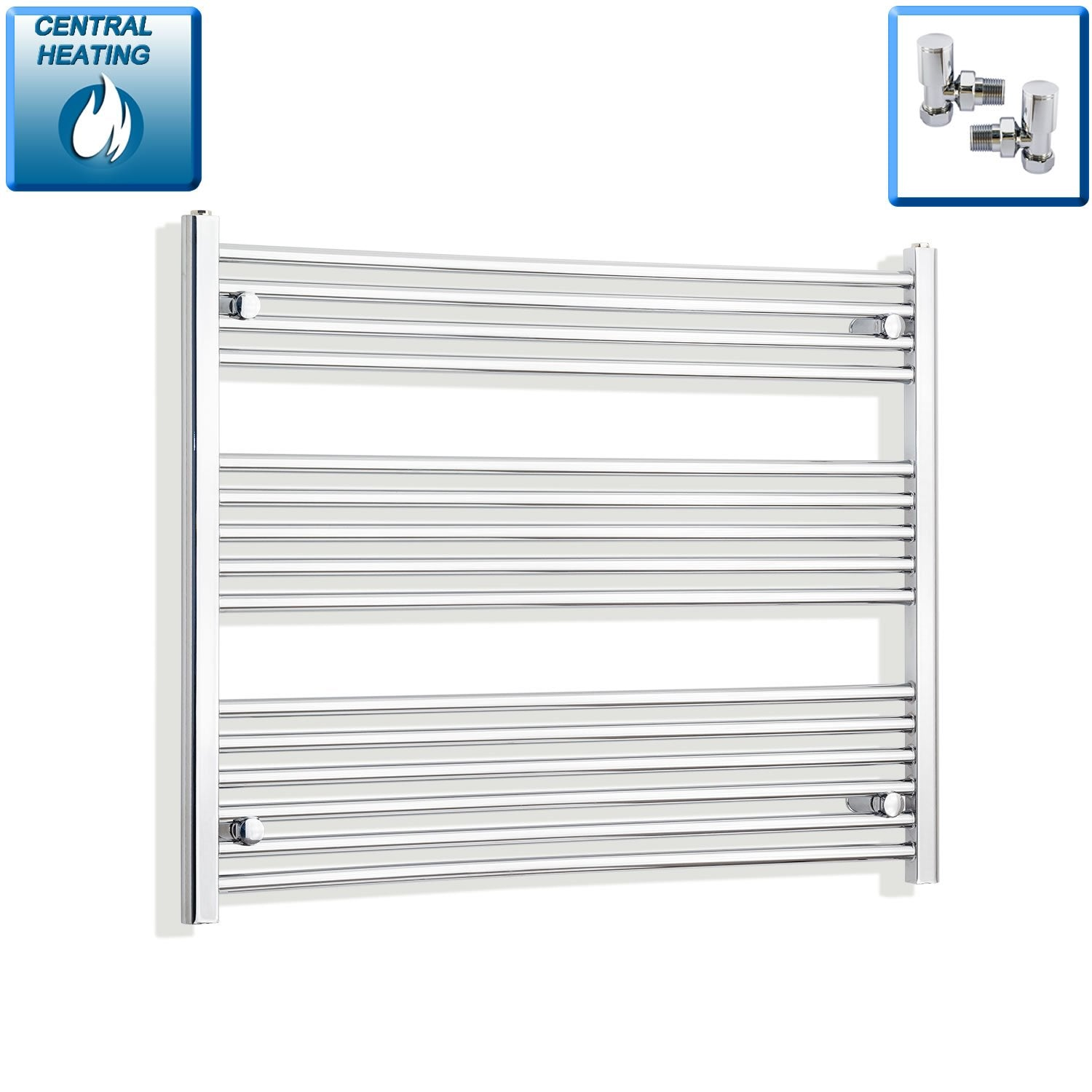1000mm Wide 800mm High Flat Chrome Heated Towel Rail Radiator HTR,With Angled Valve