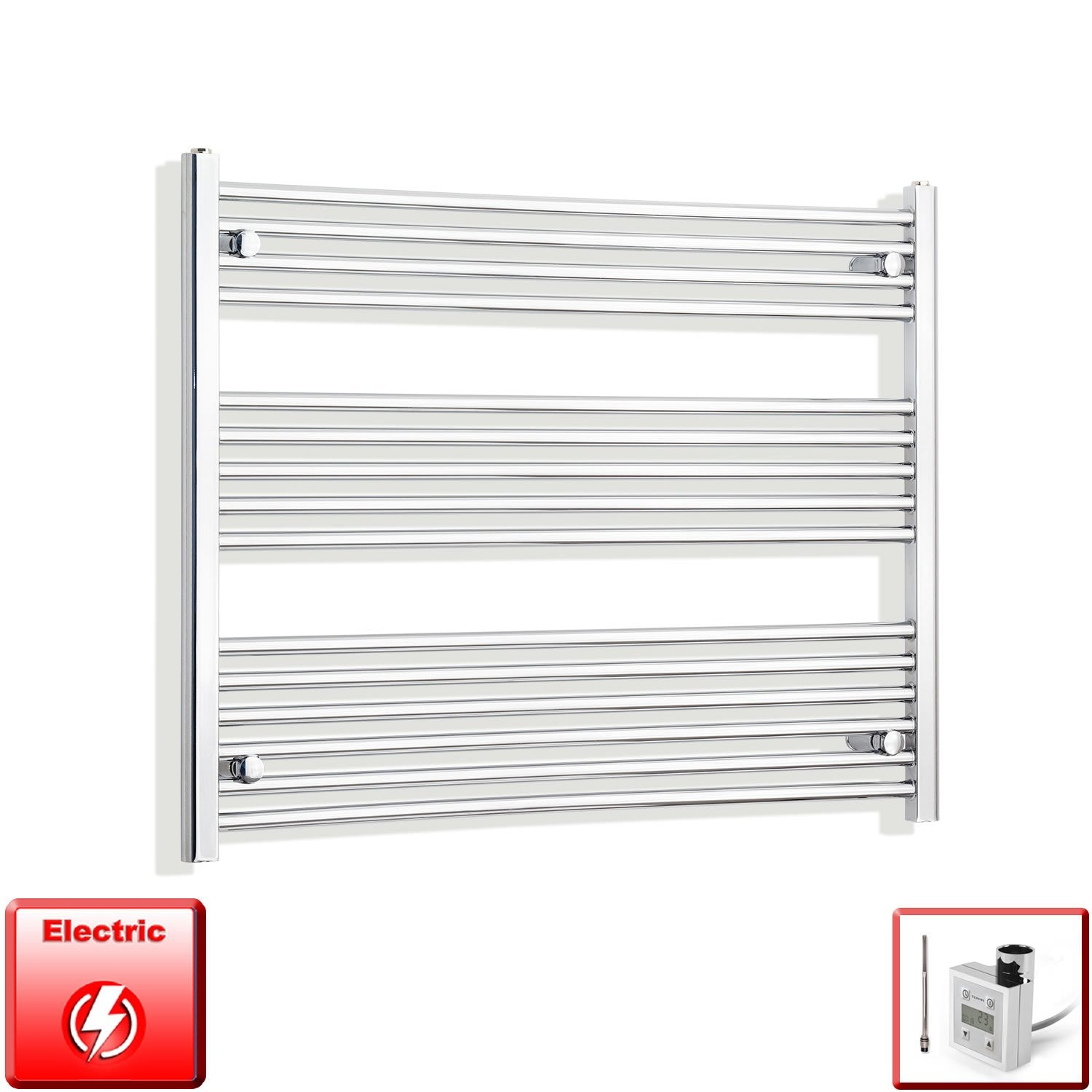 950mm Wide 800mm High Flat Chrome Pre-Filled Electric Heated Towel Rail Radiator HTR,KTX-3 Thermostatic Element