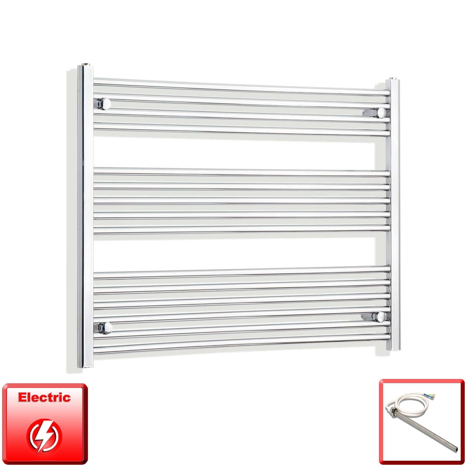 1000mm Wide 800mm High Flat Chrome Pre-Filled Electric Heated Towel Rail Radiator HTR,Single Heat Element
