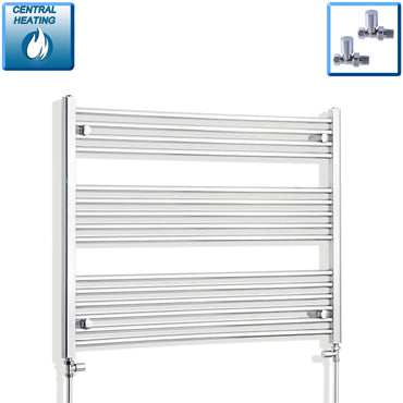 1000mm Wide 800mm High Flat Chrome Heated Towel Rail Radiator HTR,With Straight Valve
