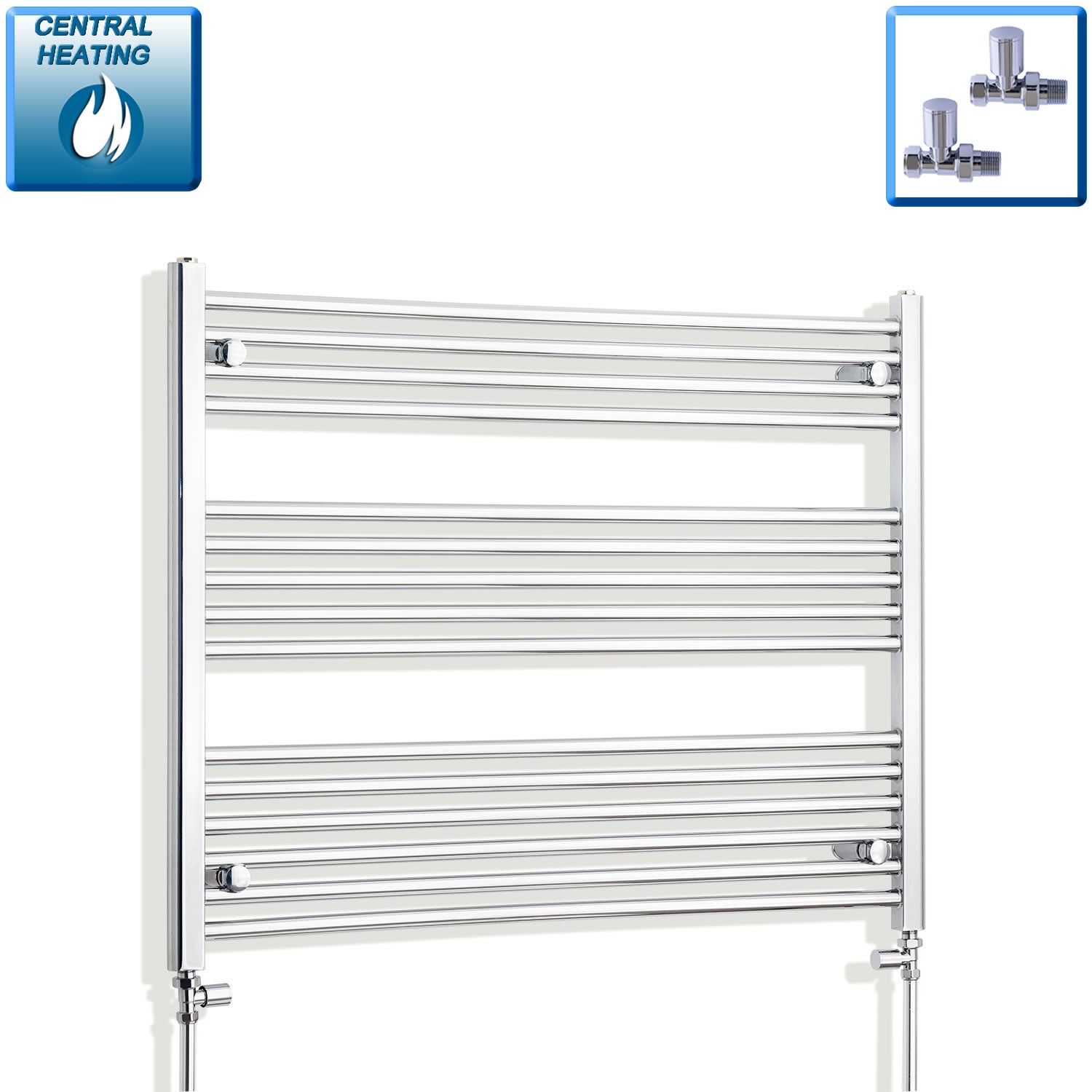 1200mm Wide 800mm High Flat Chrome Heated Towel Rail Radiator HTR,With Straight Valve