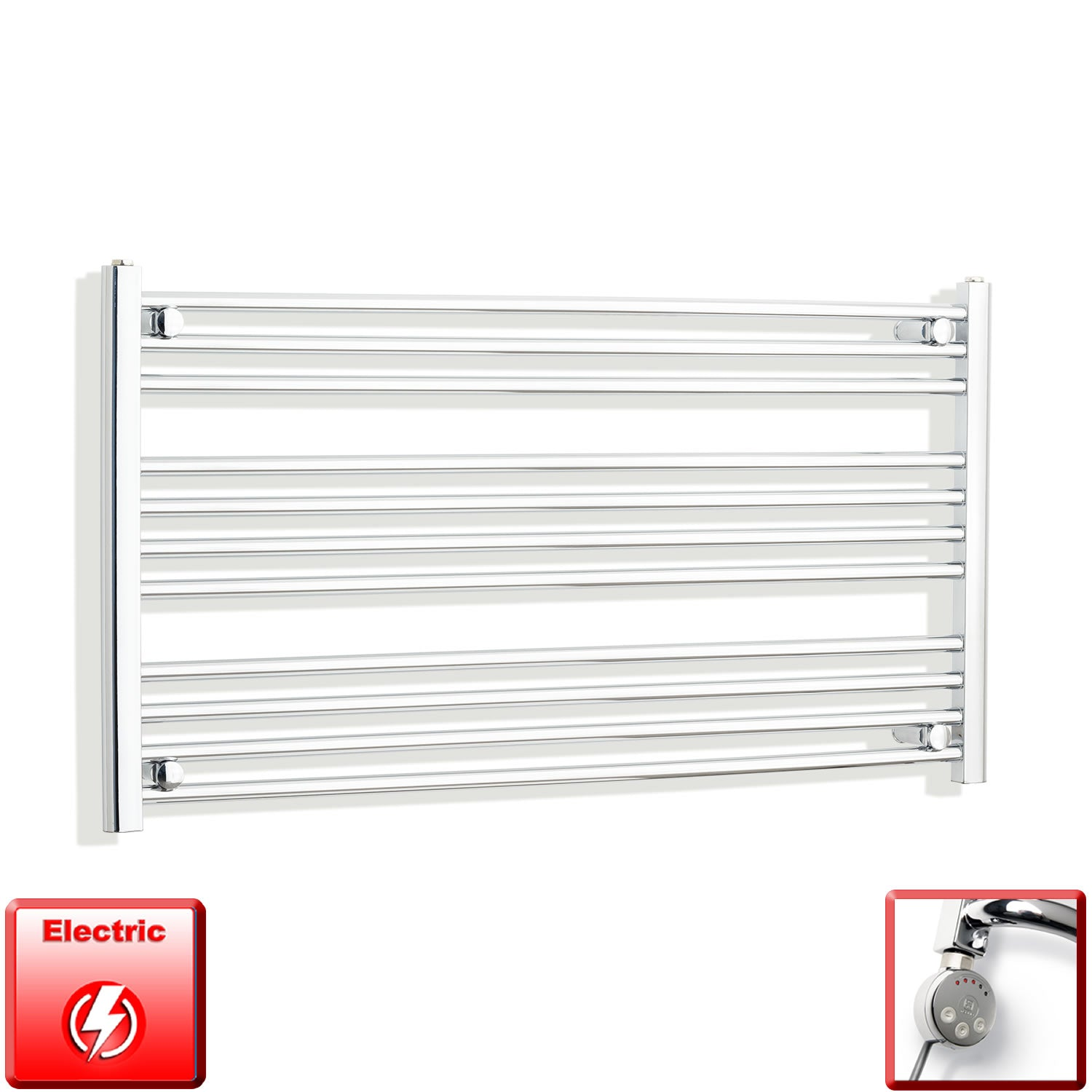 1200mm Wide 600mm High Flat Chrome Pre-Filled Electric Heated Towel Rail Radiator HTR,MEG Thermostatic Element
