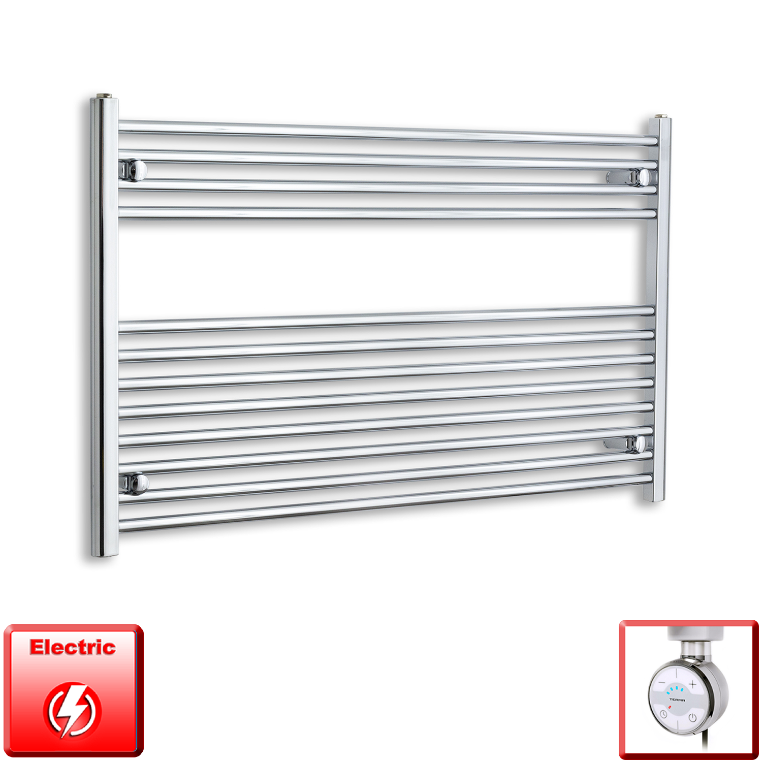 1200mm Wide 700mm High Flat Chrome Pre-Filled Electric Heated Towel Rail Radiator HTR,MOA Thermostatic Element