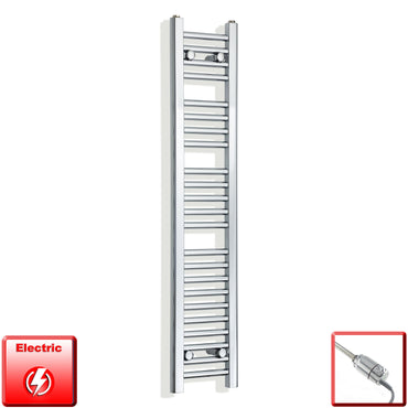 250mm Wide 1200mm High Flat Chrome Pre-Filled Electric Heated Towel Rail Radiator HTR,GT Thermostatic