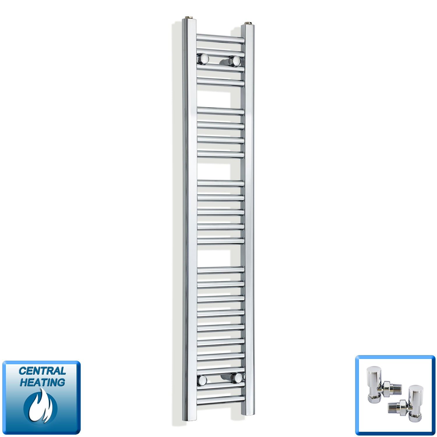 200mm Wide 1200mm High Flat Chrome Heated Towel Rail Radiator