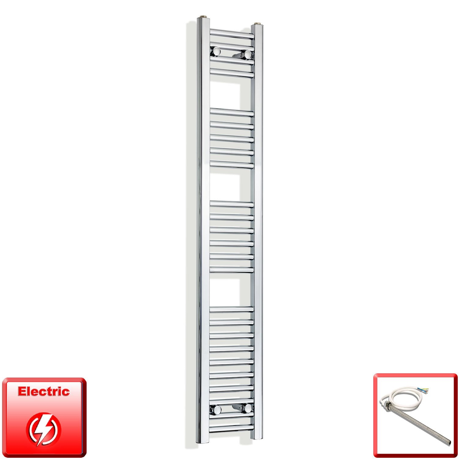 250mm Wide 1400mm High Flat Chrome Pre-Filled Electric Heated Towel Rail Radiator HTR,Single Heat Element