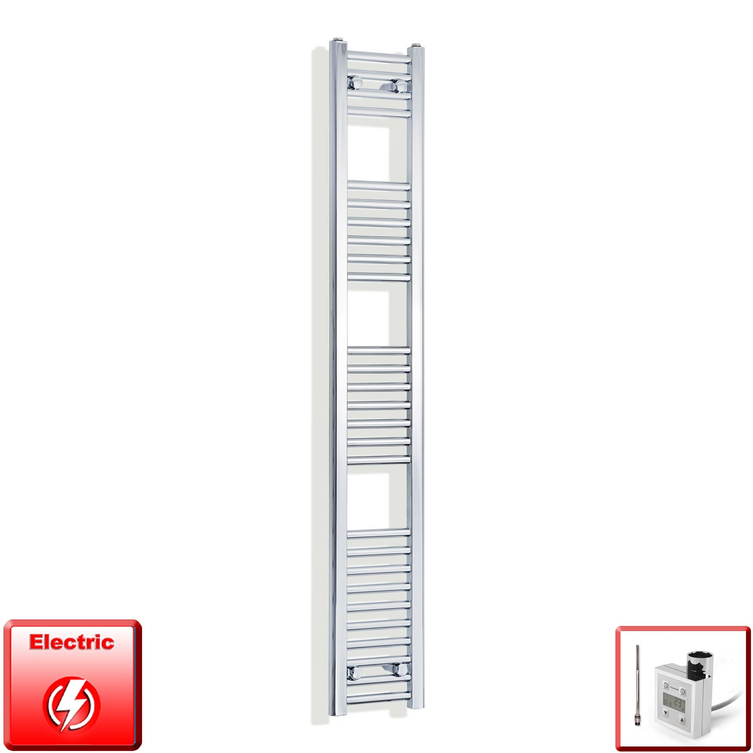 200mm Wide 1600mm High Flat Chrome Pre-Filled Electric Heated Towel Rail Radiator HTR,KTX-3 Thermostatic Element