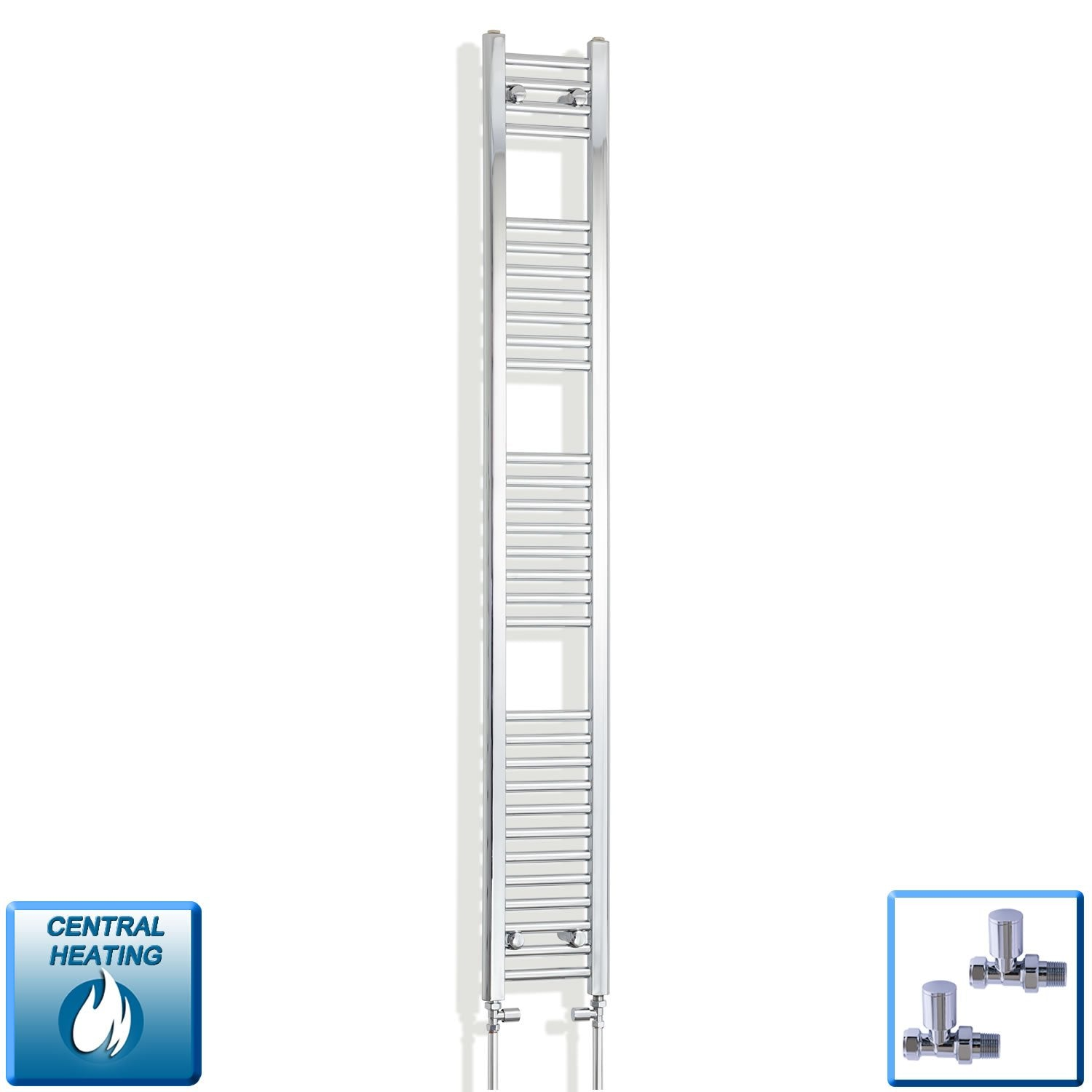 250mm Wide 1800mm High Flat Chrome Heated Towel Rail Radiator,With Straight Valve