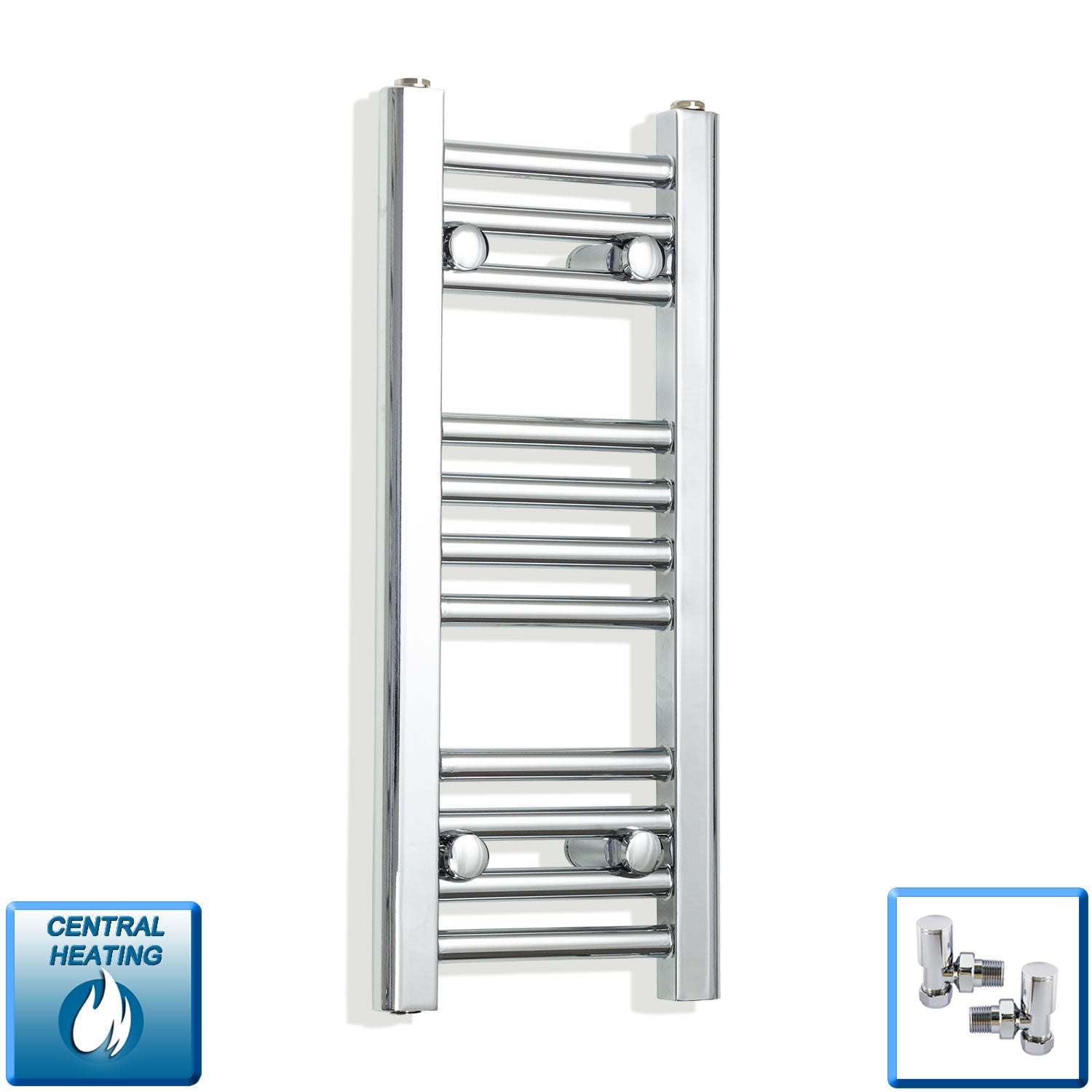 200mm Wide 600mm High Flat Chrome Heated Towel Rail Radiator,With Angled Valve