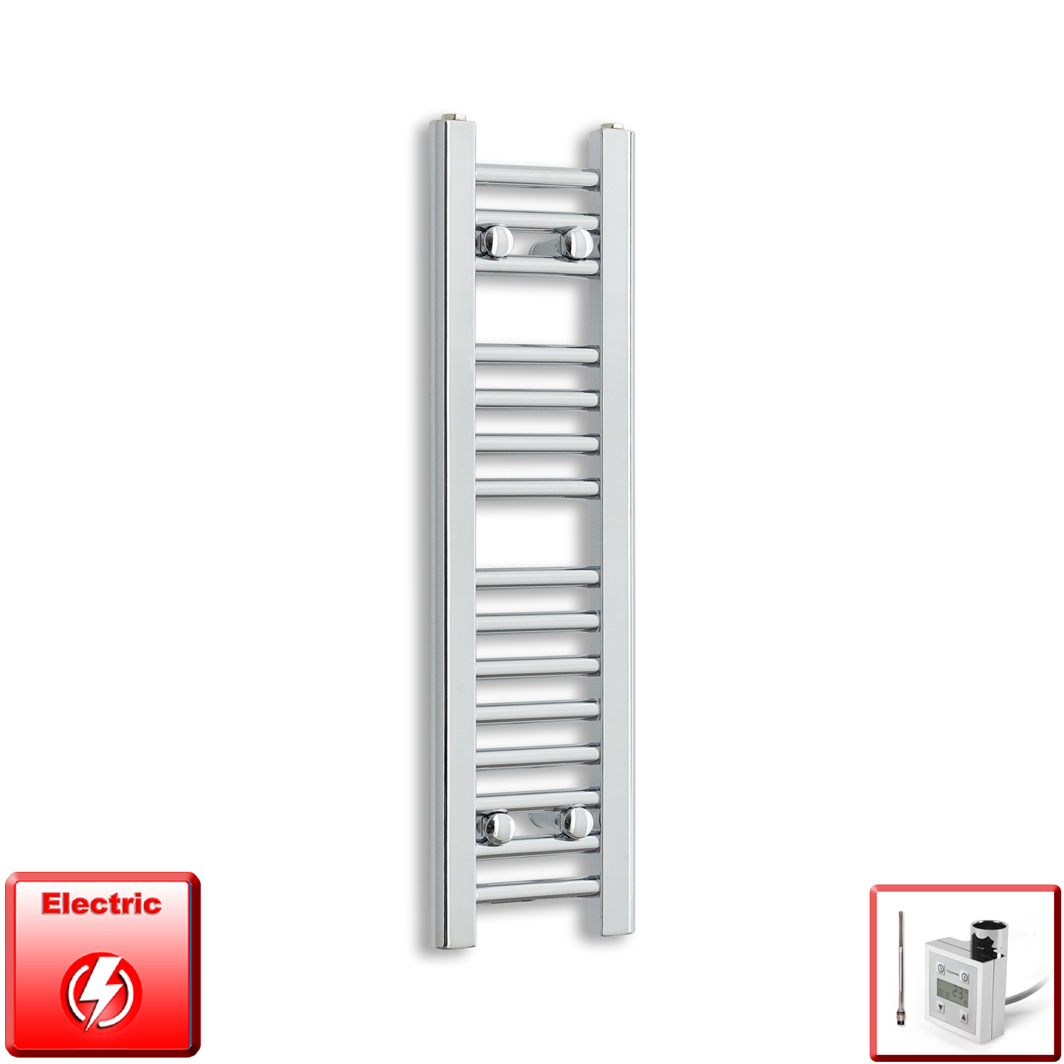 250mm Wide 800mm High Pre-Filled Chrome Electric Towel Rail Radiator With Thermostatic KTX3 Element