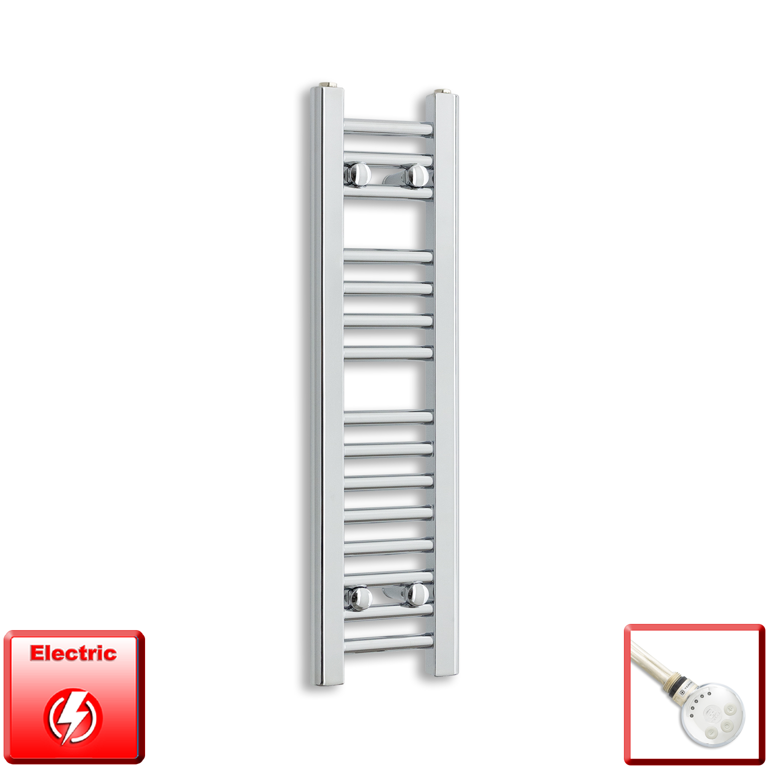 250mm Wide 800mm High Pre-Filled Chrome Electric Towel Rail Radiator With Thermostatic MEG Element