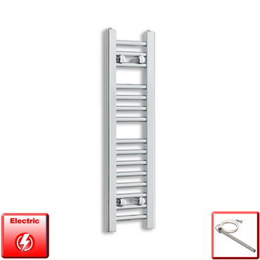 250mm Wide 800mm High Pre-Filled Chrome Electric Towel Rail Radiator With Single Heat Element