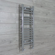 400mm Wide 800mm High Flat Chrome Heated Towel Rail Radiator HTR,With Straight Valve