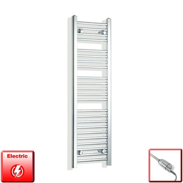 350mm Wide 1200mm High Flat Chrome Pre-Filled Electric Heated Towel Rail Radiator HTR,GT Thermostatic