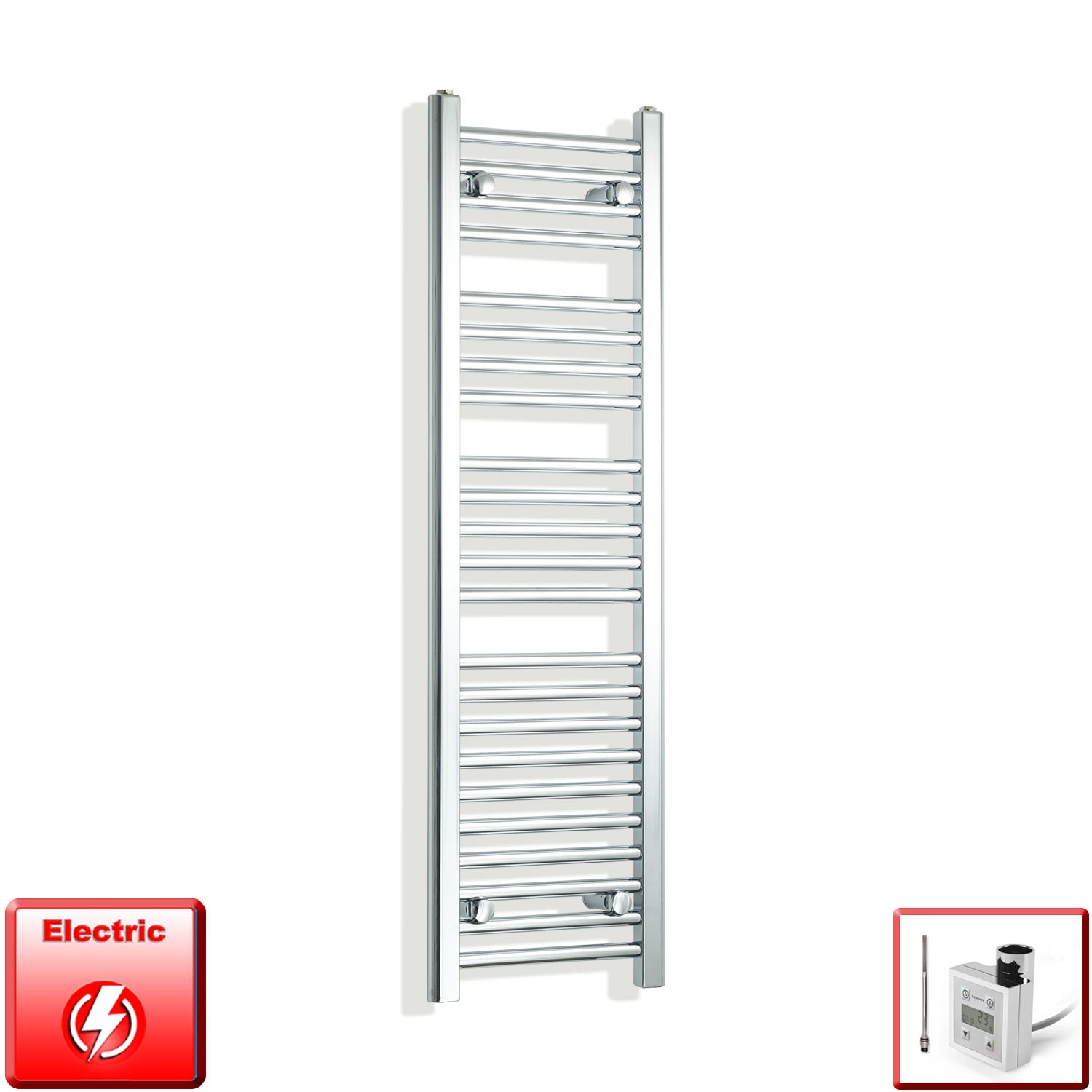 300mm Wide 1200mm High Flat Chrome Pre-Filled Electric Heated Towel Rail Radiator HTR,KTX-3 Thermostatic Element