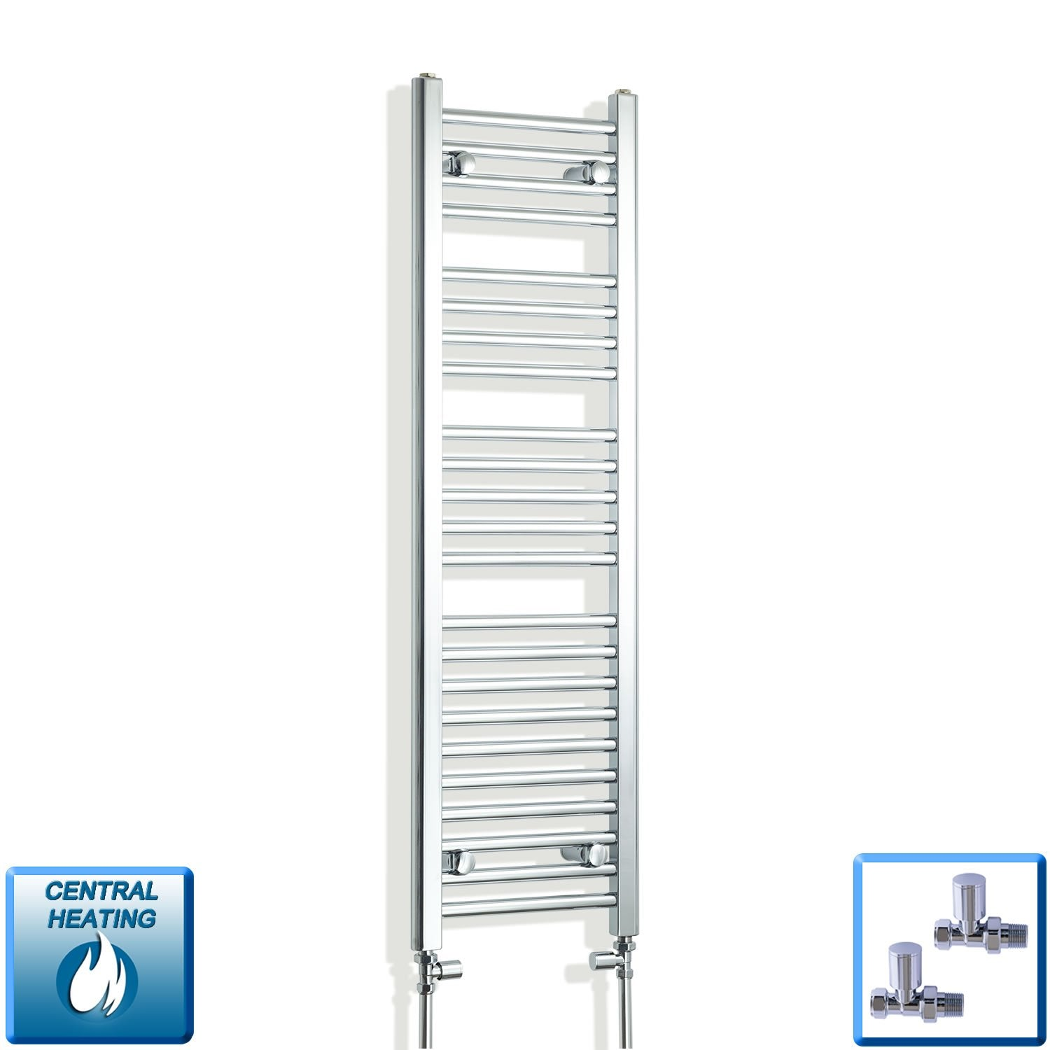 300mm Wide 1200mm High Flat Chrome Heated Towel Rail Radiator,With Straight Valve