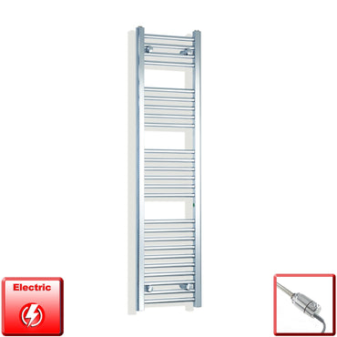 350mm Wide 1400mm High Flat Chrome Pre-Filled Electric Heated Towel Rail Radiator HTR,GT Thermostatic