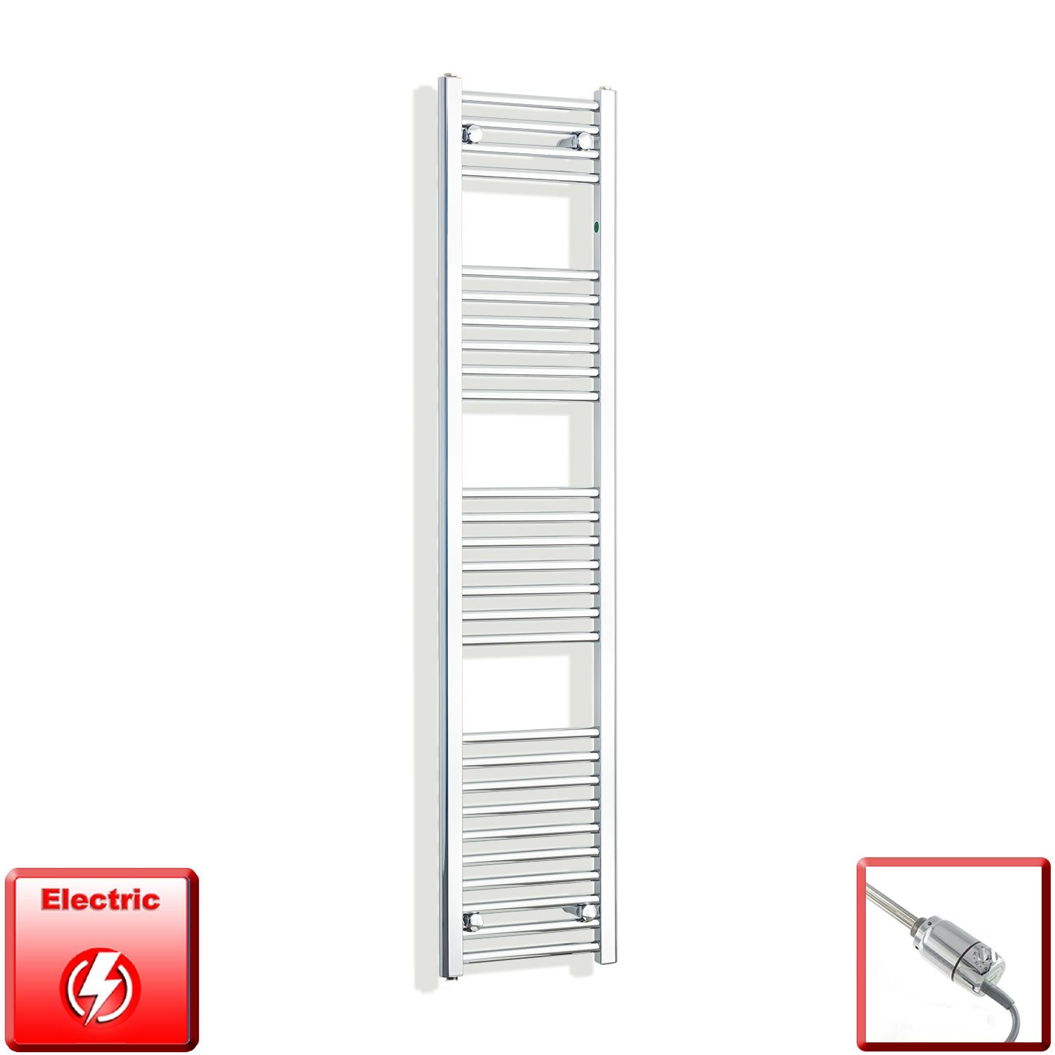 350mm Wide 1600mm High Flat Chrome Pre-Filled Electric Heated Towel Rail Radiator HTR,GT Thermostatic