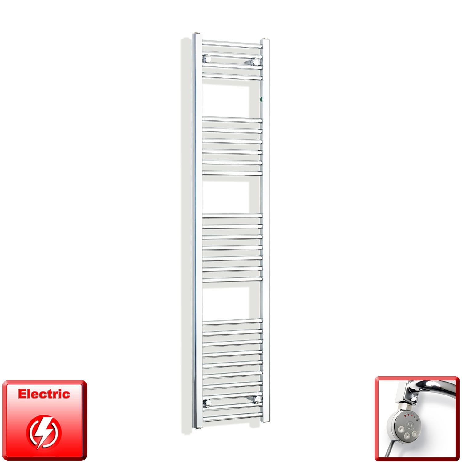 350mm Wide 1600mm High Flat Chrome Pre-Filled Electric Heated Towel Rail Radiator HTR,MEG Thermostatic Element