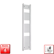 350mm Wide 1800mm High Flat Chrome Pre-Filled Electric Heated Towel Rail Radiator HTR,KTX-3 Thermostatic Element