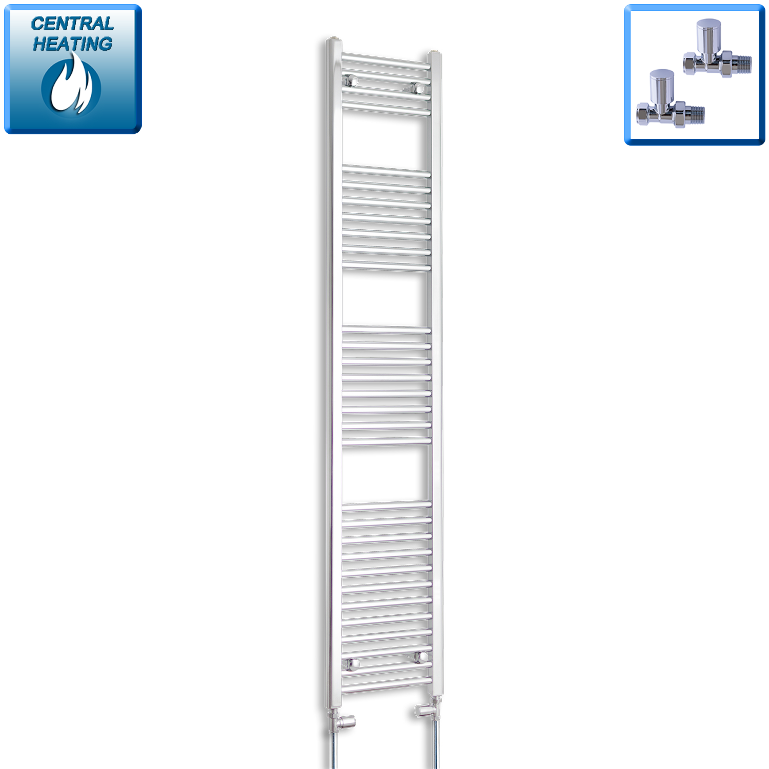 350mm Wide 1800mm High Flat Chrome Heated Towel Rail Radiator,With Straight Valve