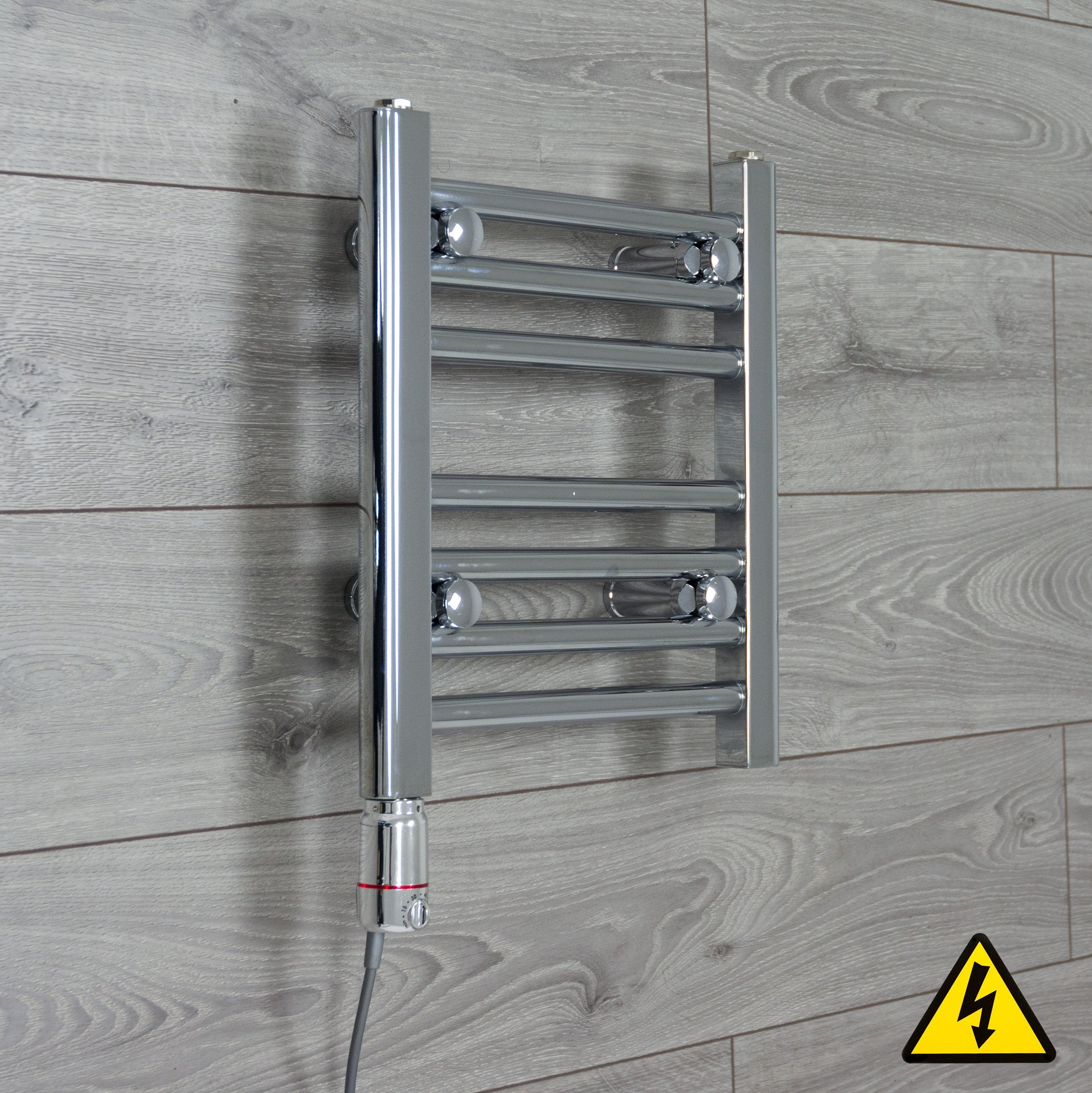 400mm Wide 400mm High Flat Or Curved Chrome Pre-Filled Electric Heated Towel Rail Radiator HTR,GT Thermostatic / Straight