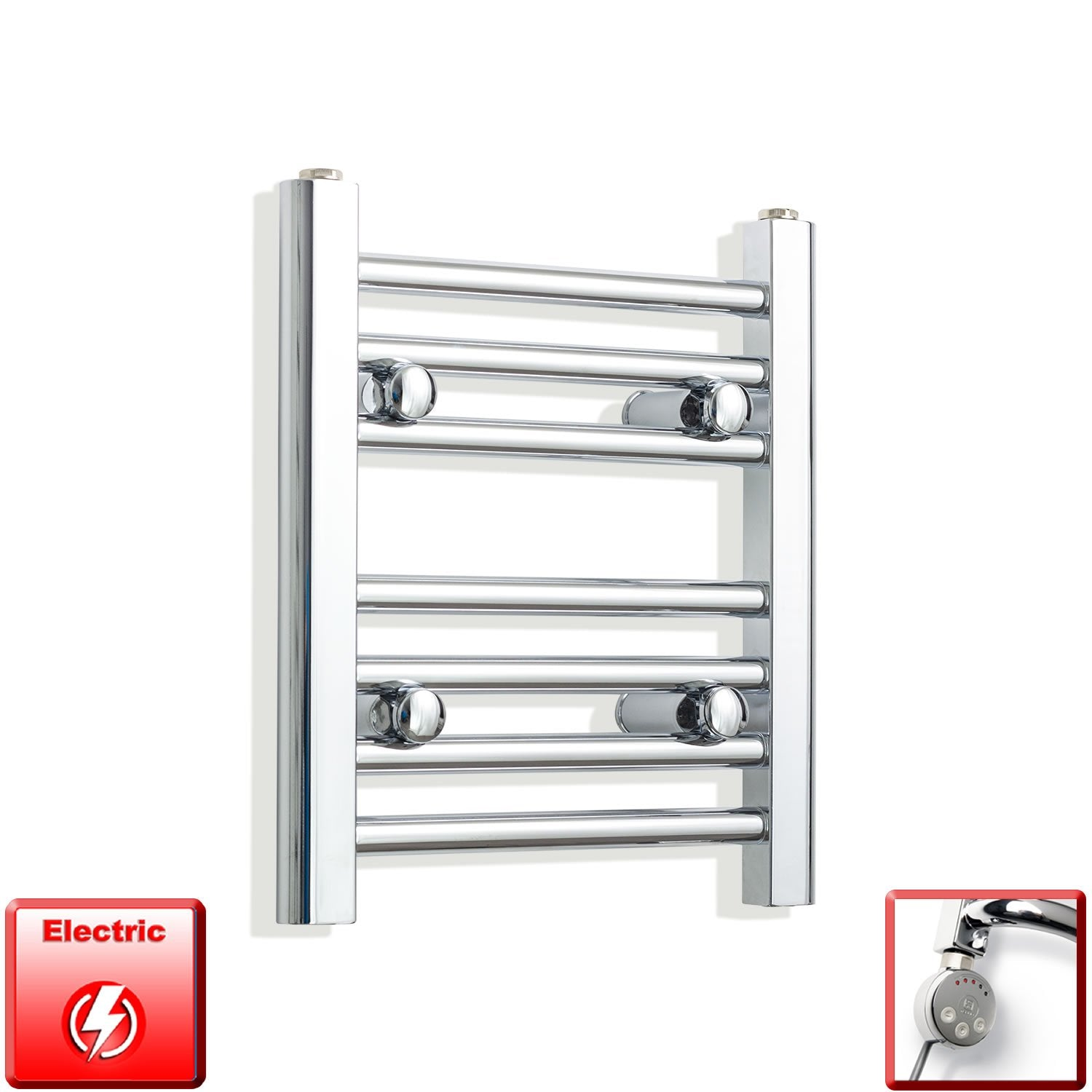 350mm Wide 400mm High Flat Chrome Pre-Filled Electric Heated Towel Rail Radiator HTR,MEG Thermostatic Element