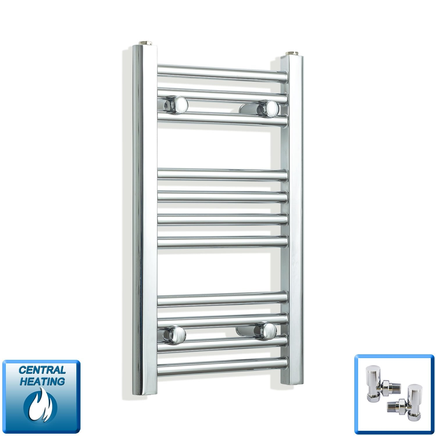 350mm Wide 600mm High Flat Chrome Heated Towel Rail Radiator,With Angled Valve