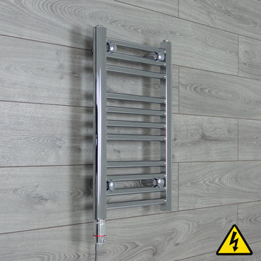 400mm Wide 600mm High Flat Or Curved Chrome Pre-Filled Electric Heated Towel Rail Radiator HTR,GT Thermostatic / Straight