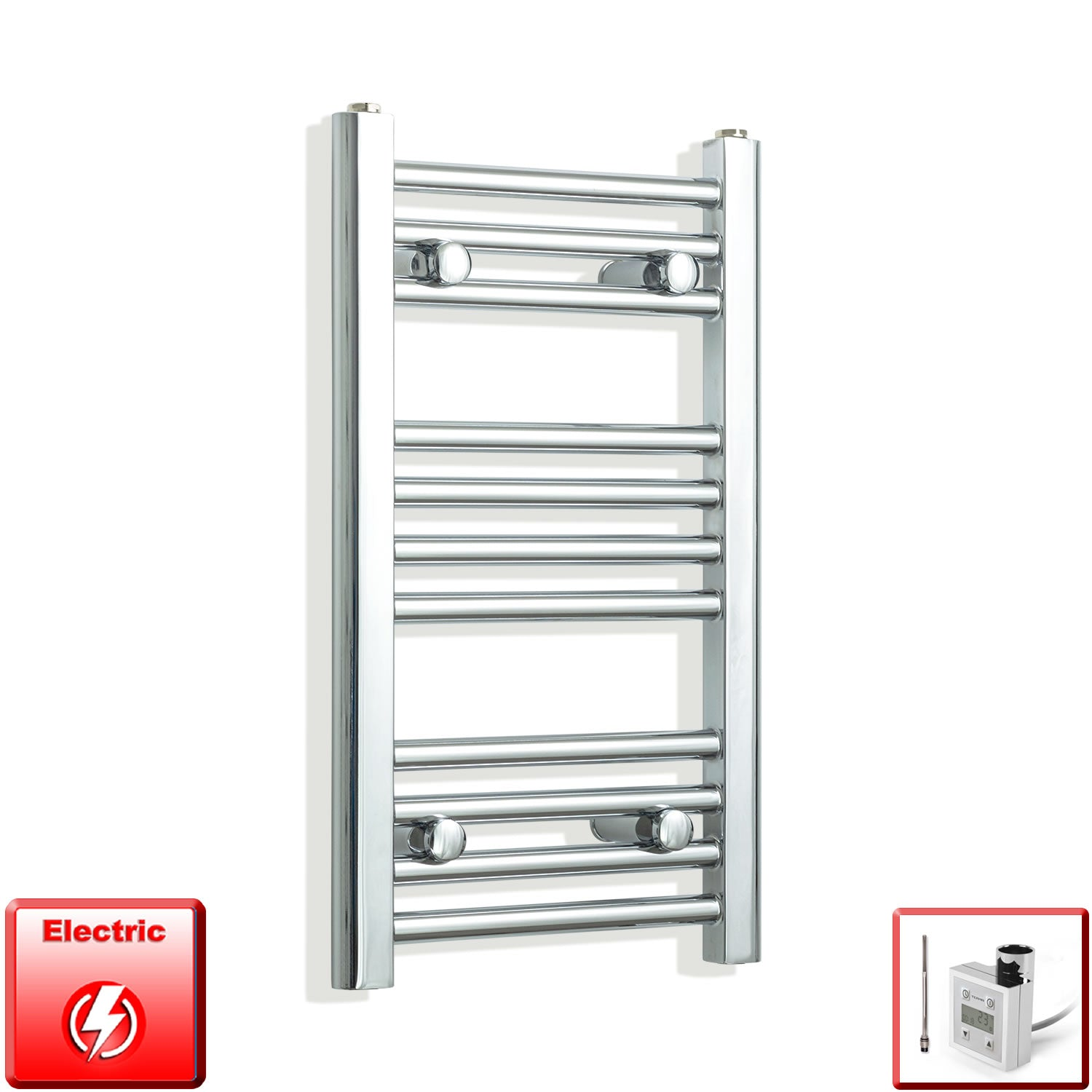 350mm Wide 600mm High Flat Chrome Pre-Filled Electric Heated Towel Rail Radiator HTR,KTX-3 Thermostatic Element
