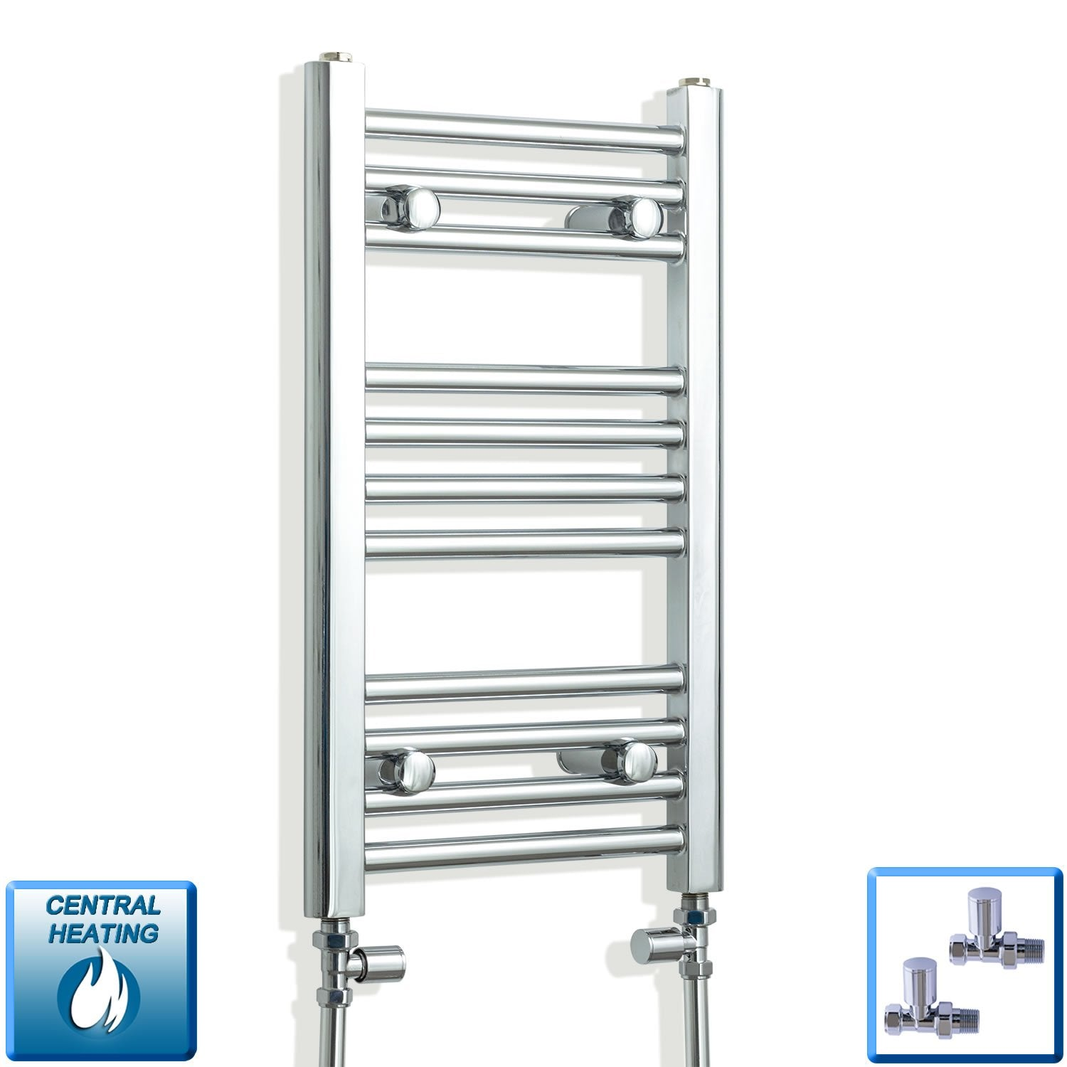 350mm Wide 600mm High Flat Chrome Heated Towel Rail Radiator,With Straight Valve