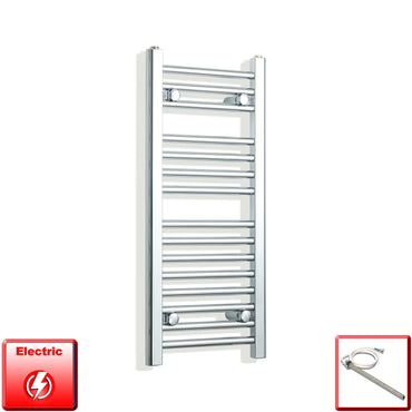 350mm Wide 800mm High Flat Chrome Pre-Filled Electric Heated Towel Rail Radiator HTR,Single Heat Element