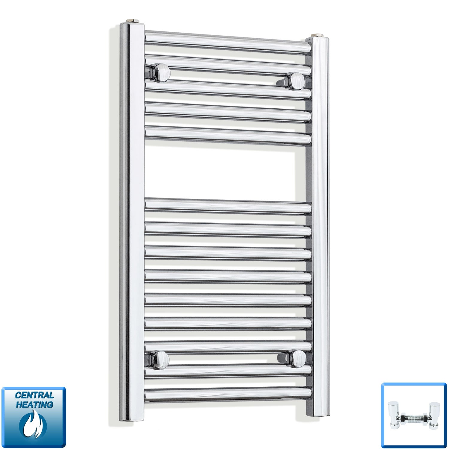 400mm Wide 678mm High Straight Chrome Heated Towel Rail Radiator