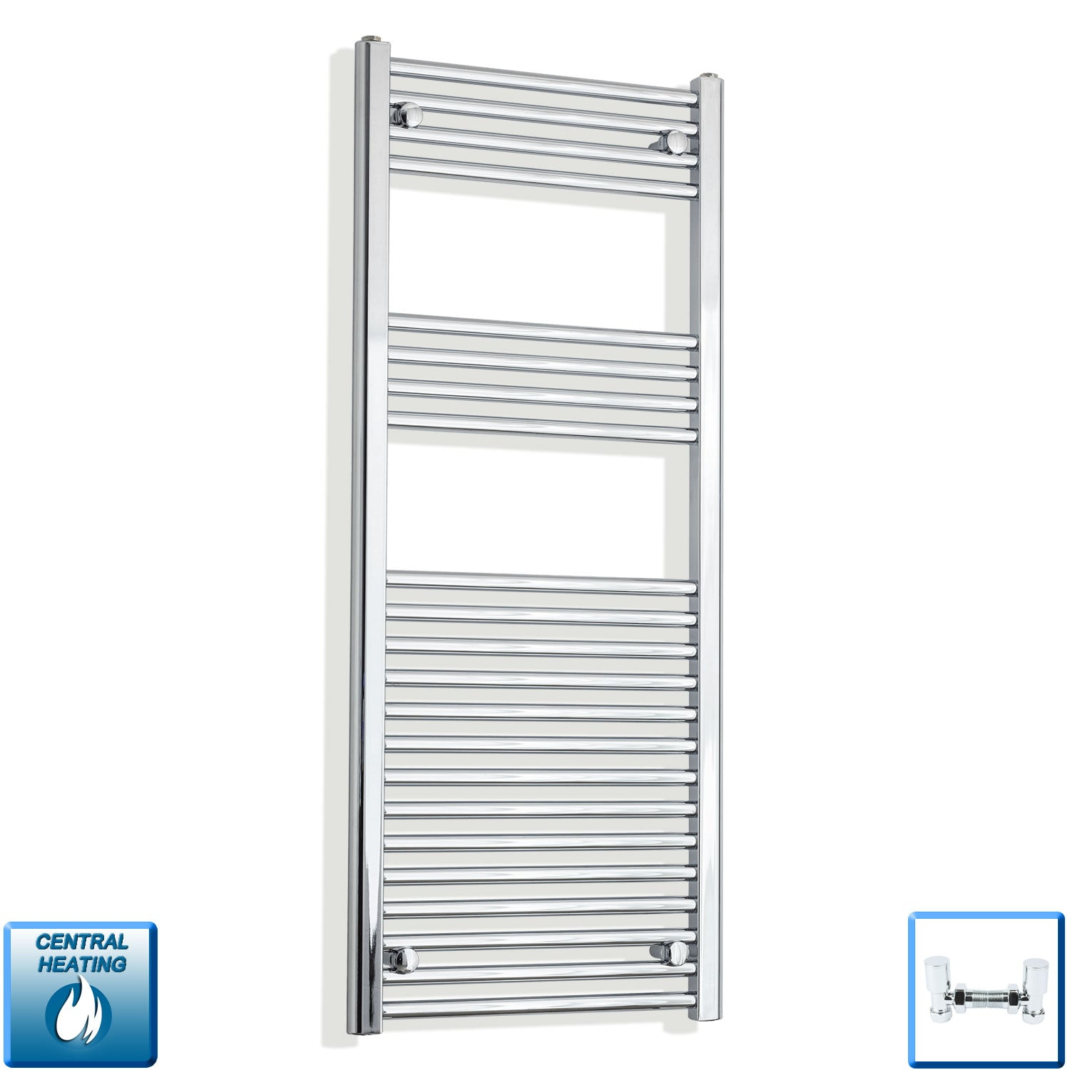 500mm Wide 1200mm High Straight Chrome Heated Towel Rail Radiator HTR,With Angled Valve
