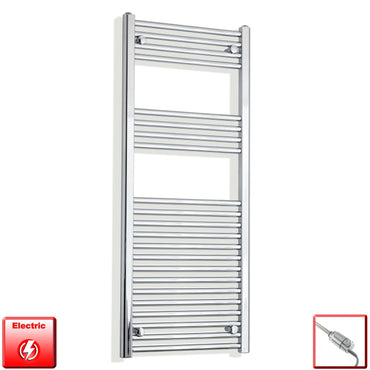 500mm Wide 1200mm High Flat Chrome Pre-Filled Electric Heated Towel Rail Radiator HTR,GT Thermostatic