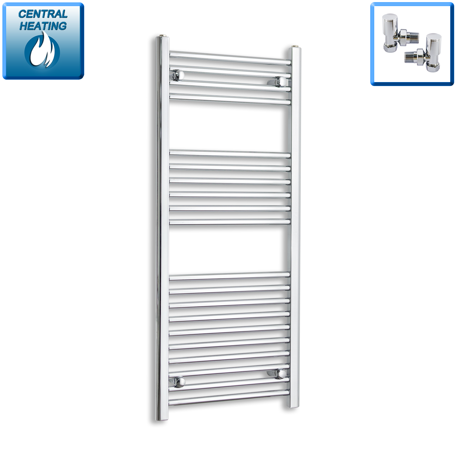 600mm Wide 1200mm High Straight Chrome Heated Towel Rail Radiator Gas or Electric,With Angled Valve