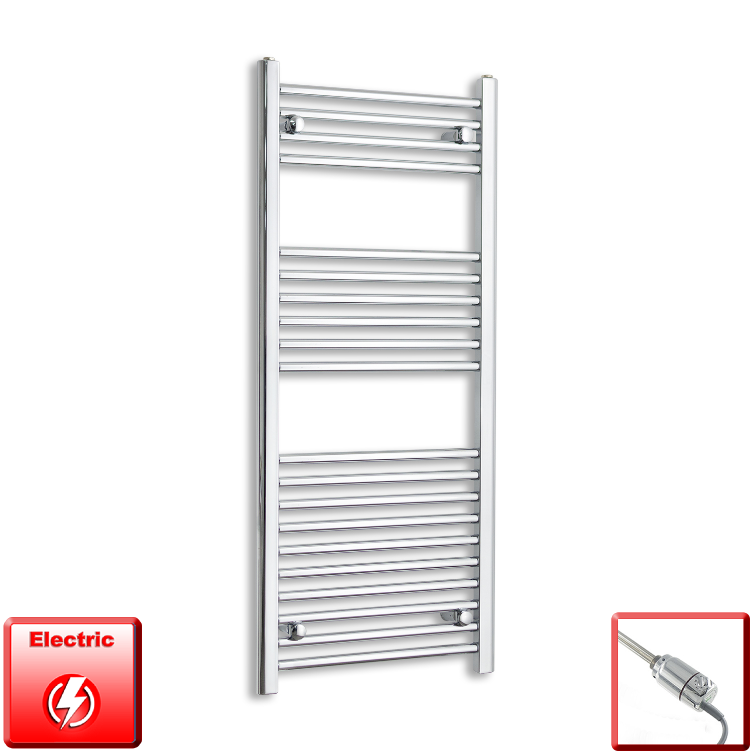 500mm Wide 1200mm High Flat or Curved Chrome Pre-Filled Electric Heated Towel Rail Radiator HTR,GT Thermostatic