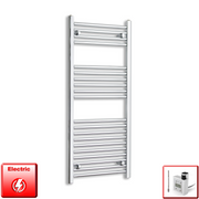 500mm Wide 1200mm High Flat or Curved Chrome Pre-Filled Electric Heated Towel Rail Radiator HTR,KTX-3 Thermostatic Element