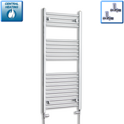 600mm Wide 1200mm High Straight Chrome Heated Towel Rail Radiator Gas or Electric,With Straight Valve