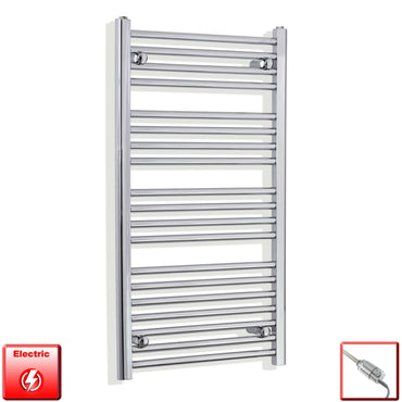 550 x 1000 Curved Chrome Heated Towel Rail Radiator Gas or Electric