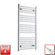 550mm Wide 1100mm High Pre-Filled Chrome Electric Towel Rail Radiator With Thermostatic DIGI Element