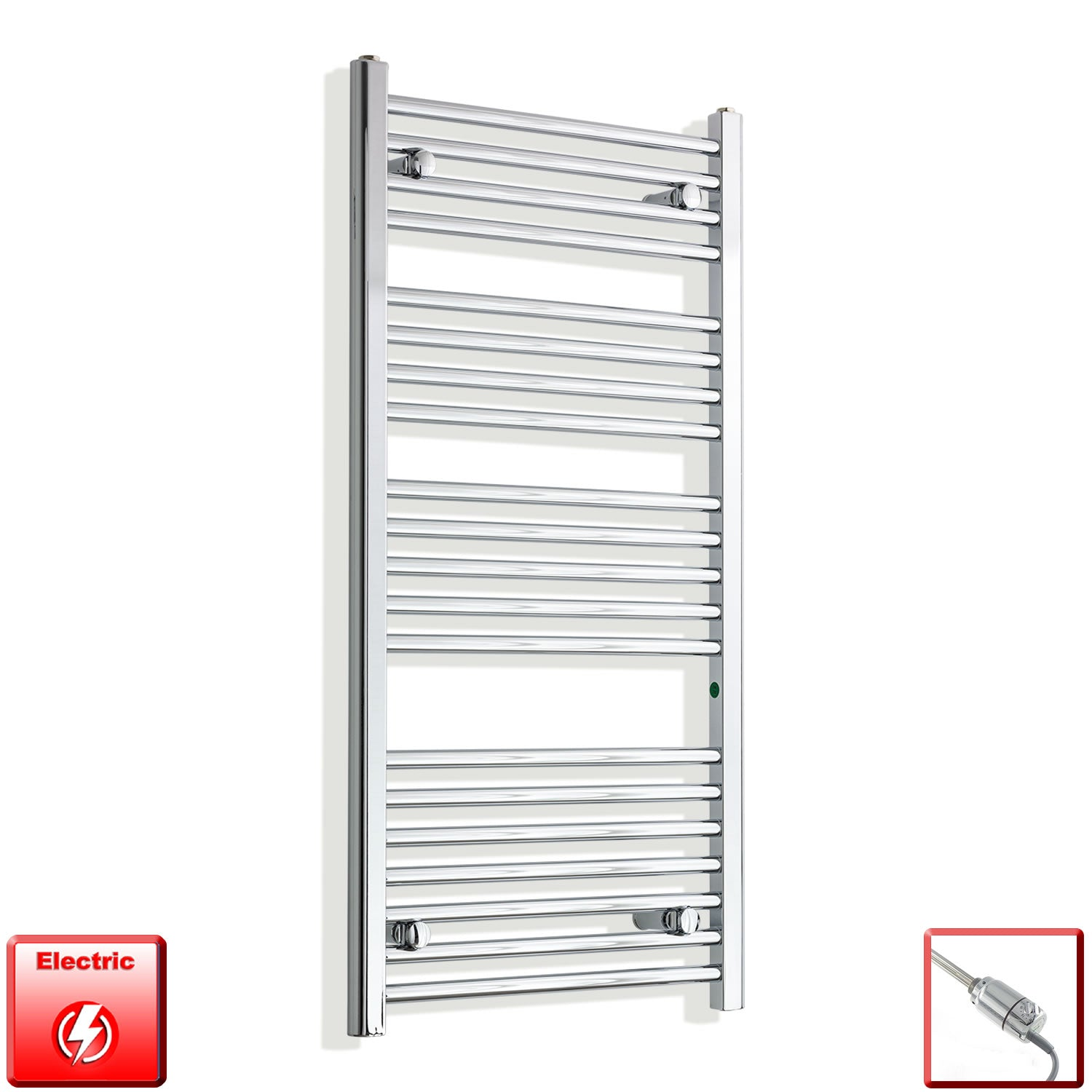 550mm Wide 1100mm High Pre-Filled Chrome Electric Towel Rail Radiator With Thermostatic GT Element