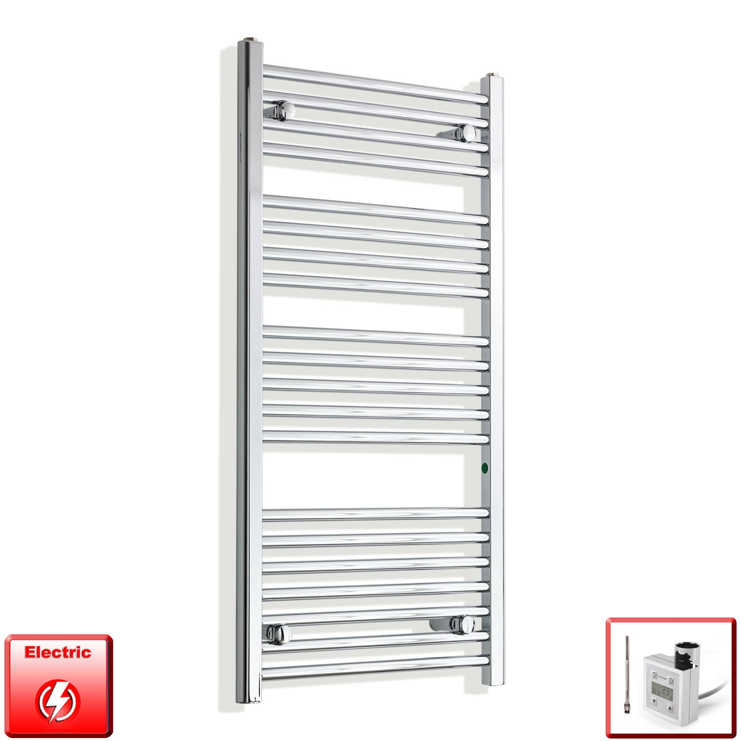 550mm Wide 1100mm High Pre-Filled Chrome Electric Towel Rail Radiator With Thermostatic KTX3 Element