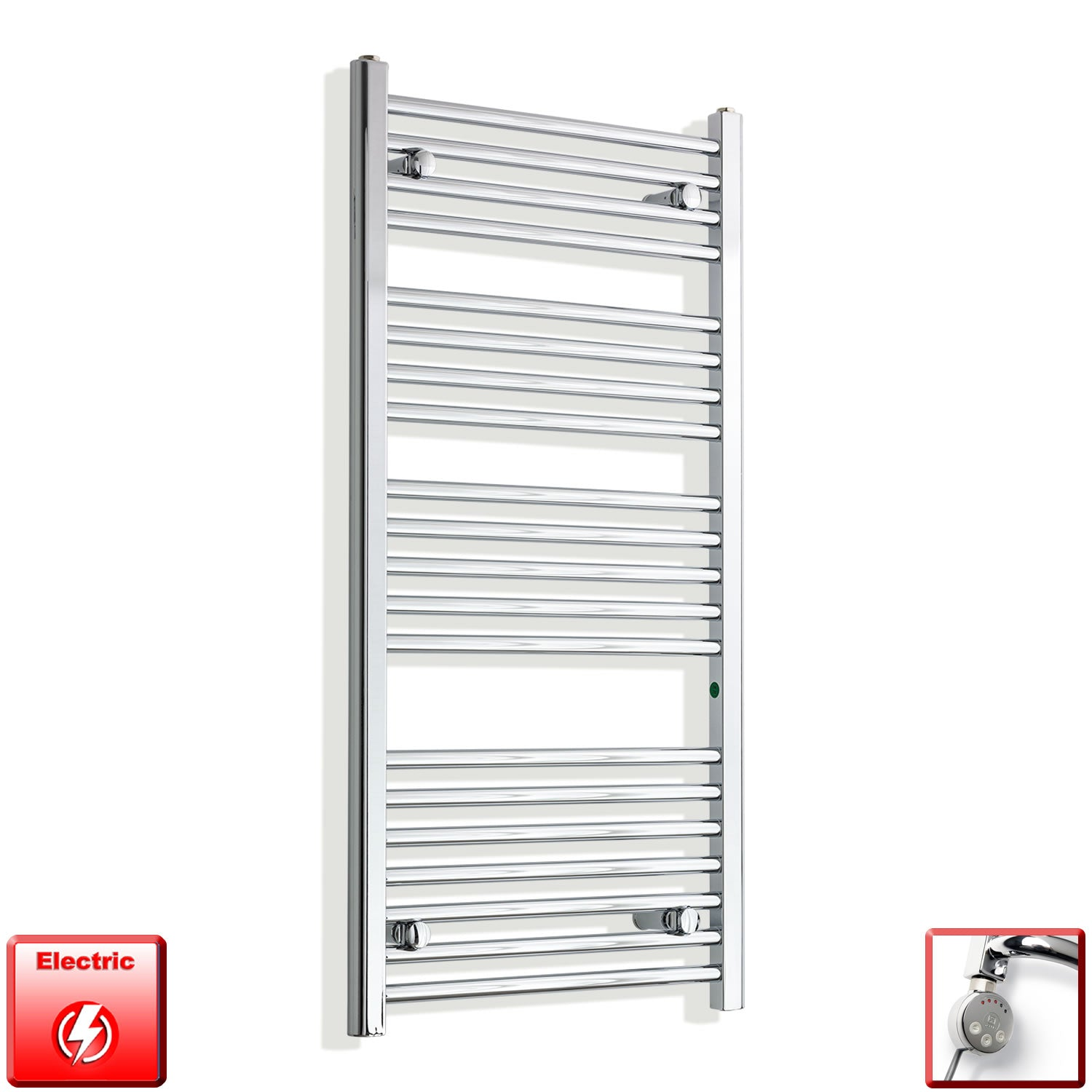 550mm Wide 1100mm High Pre-Filled Chrome Electric Towel Rail Radiator With Thermostatic MEG Element