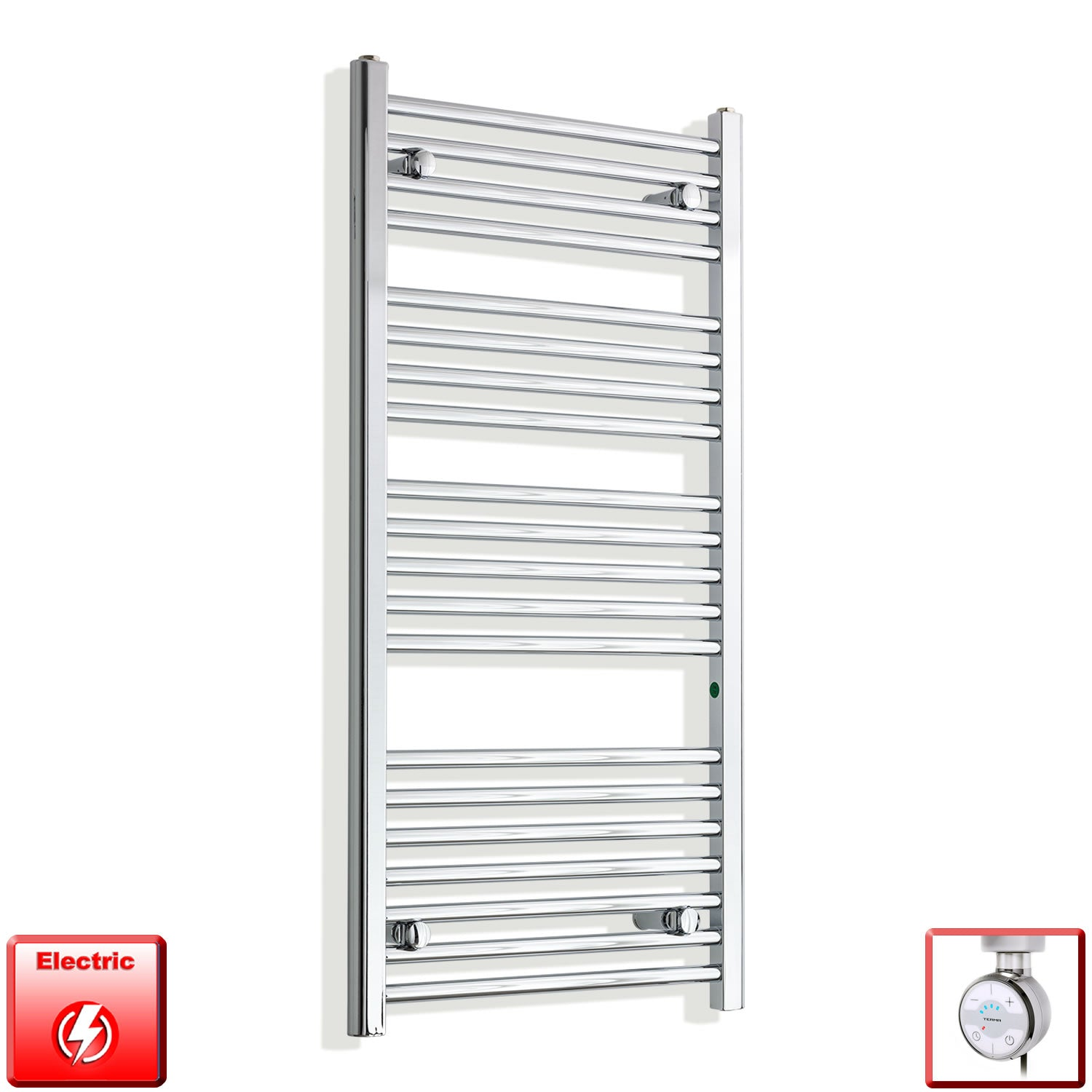 550mm Wide 1100mm High Pre-Filled Chrome Electric Towel Rail Radiator With Thermostatic MOA Element